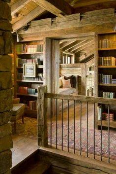 Barn home - hallway bookshelves