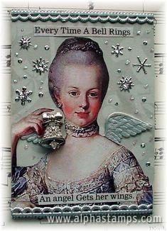 Marie ATC--glitter, collage, wings, what else for a french elite