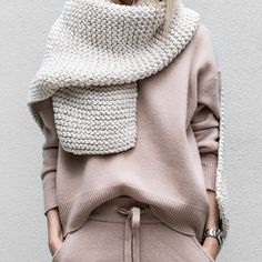 off-white cable-knit + rose-colored cashmere.