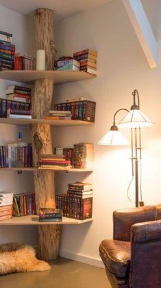 Creative Bookshelves, Bookshelf Ideas, Shelving Ideas, Rustic Bookshelf, Corner Bookshelves, Bookshelf Decorating, Bookshelf Design, Tree Bookshelf, Bookshelf Inspiration