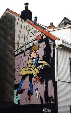 new comics mural painting in brussels spirou et la femme l opard this comic strip book is the. Black Bedroom Furniture Sets. Home Design Ideas
