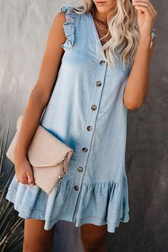 Shopping V-Neck Single Breasted Denim Mini Dress online with high-quality and best prices Casual Dresses at Luvyle. Simple Dresses, Pretty Dresses, Casual Dresses, Casual Outfits, Summer Outfits, Fashion Dresses, Clothing Hacks, Vacation Dresses, Cool Street Fashion