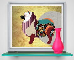 Keeshond Dog Art Print Dog Art Portrait Pop Dog Art by iQstudio