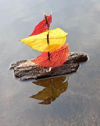 Land Art for Kids: floating boat