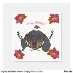 Happy Holidays Weiner Dog Napkins