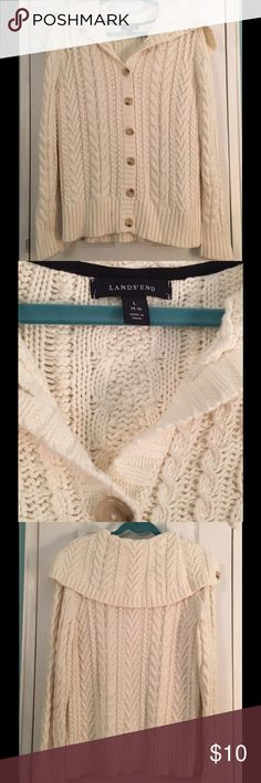 Land's End Sweater Never worn heavy weight cable knit sweater! Beautiful off white color! So warm and comfy! Lands' End Sweaters Shrugs & Ponchos