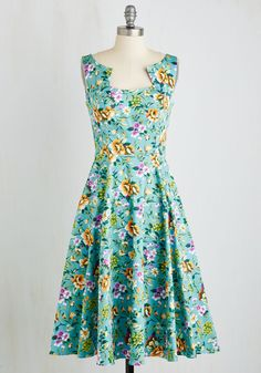 So Far, Sol Good Dress. A sojourn to the sunshine state proves to be perfect time to flaunt this floral midi dress! #blue #modcloth