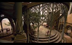 I'm not going to lie, this image of the Rivendell set inspired a room in Camelot. But without all the swirling flourishes.