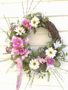 Spring Front Door Wreath Summer grapevine Wreath by ThePetalShop