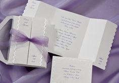 Striking Purple and Chiffon Wedding Invitations