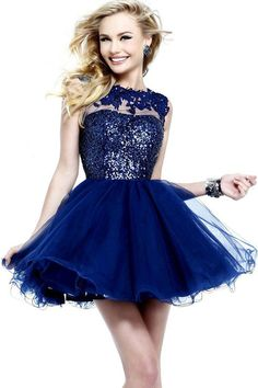Short Navy Sequin Applique Lace Top Layered Homecoming Dress