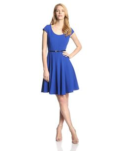 Calvin Klein Women's Solid Cap Sleeve Belted Flare Dress at Amazon Women's Clothing store: