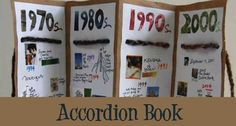 Family Timeline Accordion Book with Recycled Materials – Imagination Soup Fun Learning and Play Activities for Kids Make A Timeline, Art History Timeline, Timeline Project, Accordian Book, Teaching Social Studies, Creative Writing, Kids Writing, Writing Ideas, Handmade Books