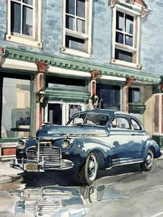 """Main Street"" by Bill Drysdale, Southern California // A 1941 Chevrolet pulled up to the curb of my concept of anywhere USA.  The original watercolor has been sold. // Imagekind.com -- Buy stunning, museum-quality fine art prints, framed prints, and canvas prints directly from independent working artists and photographers."