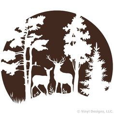 Buck and Doe Deer in the Moonlight, Hunting Vinyl Wall Decal Sticker Art, Removable Home Decor, Mural, Brown Wood Burning Patterns, Wood Burning Art, Stencil Art, Stencil Designs, Glass Engraving, Silhouette Clip Art, Scroll Saw Patterns, Wall Decal Sticker, Pyrography