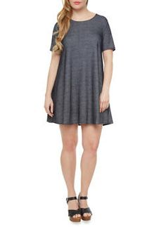 Plus Size Knit Denim Trapeze Dress With Short Sleeves,NAVY