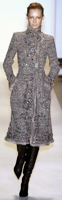 OSCAR de la RENTA. In the cold north we need a beautiful dressy coat to go out to formal or dressy events.