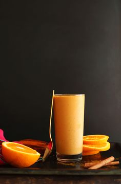Creamy Sweet Potato Smoothie loaded with beta carotene, lycopene, vitamin C, fiber and protein! #vegan #glutenfree