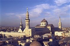 The Great Mosque of Damascus, Syria is one of the earlier examples of monumental Islamic architecture. It still has a nave just like the early Christian churches but there is no separation of interior spaces. The interior is decorated with mosaics in geometric patterns.