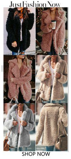 Fleece Cozy Long Sleeve Vintage Shawl Collar Cashmere Teddy Bear Coats #winter coat #fashion coat #women's fashion Pretty Outfits, Stylish Outfits, Fall Outfits, Cute Outfits, Fashion Outfits, Fashion Coat, Girly Outfits, Fashion Ideas, Trendy Fashion