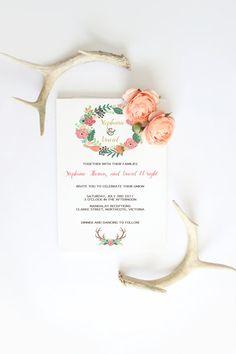 Wedding invitation wreath flowers deer antlers by Papierscharmants Deer Antlers, Diy Wedding, Wedding Invitations, Floral Wreath, Reception, Place Card Holders, Printables, Wreaths, Unique Jewelry