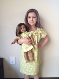 Matching Girl and American Girl doll clothing - Green floral dress. $58.00, via Etsy.