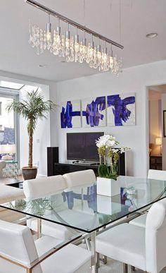 Merveilleux Salle A Manger · Table En Verre Sur Mesure Plafonnier Design, Tableau  Abstrait, Table En Verre, Table