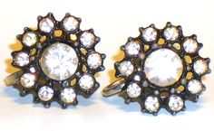 Pretty vintage Estate Japanned Rhinestone earrings ( SCREW ). signed NEMO  Retro Chic.   Measure approx 3/4 inch. .  In g...  #black #clear #clip-on #japanned #vintage #jewelry