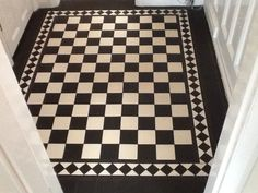 VICTORIAN OLD ENGLISH ORIGINAL STYLE FLOOR TILES CHEQUERBOARD  BLACK AND WHITE…