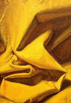 """Daily Paintworks - """"Composition in Yellow"""" - Original Fine Art for Sale - © Ski Holm Yellow Art, Yellow Painting, Mellow Yellow, Mustard Yellow, Yellow Fabric, Drapery Drawing, Monochromatic Paintings, Monochrome Painting, Art Sketches"""