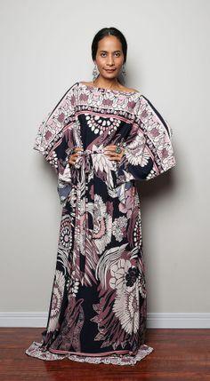 Boho Maxi Dress  Long Wide Sleeve  Floral Print Dress  от Nuichan, $59.00