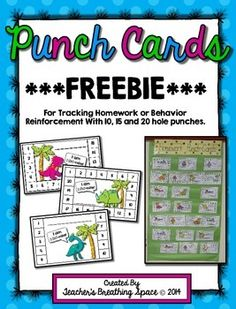 Punch Cards for Homework / Behavior Reinforcement / Rewards ***FREEBIE***