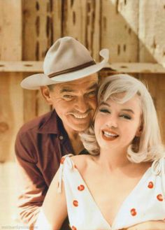 "Clark Gable + Marilyn Monroe in a color promotional photograph for ""The Misfits"" (1961)"