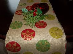 Burlap Christmas table runner by LuxuryLinenLoft on Etsy