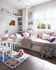 girls room design  #KBHomes i can see my girls sitting on the bed playing board games or doing pedicures..love the way the bed can double as couch or seating area for friends over