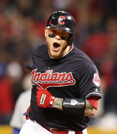 Cleveland Indians Roberto Perez is pump up as he rounds 2nd base after hitting a 3 run homer in the 8th inning to put the Indians up 6-0 over the Chicago Cubs in Game 1 of the World Series against the at Progressive Field, in Cleveland, Ohio on Oct. 25, 2016.    (Chuck Crow/The Plain Dealer)