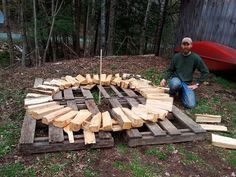 Building a Holz Hausen! Building a Holz Hausen! Outdoor Firewood Rack, Firewood Shed, Firewood Storage, Stacking Wood, Stacking Firewood, Small Wood Projects, Outdoor Projects, Backyard Sheds, Backyard Landscaping
