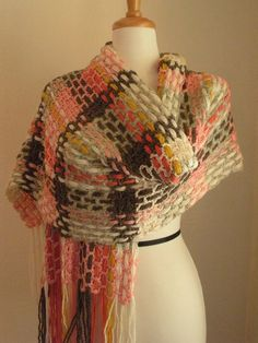 Crocheted Wrap...  GOOD IDEA FOR SMALL QUANTITIES OF LEFT OVER YARNS