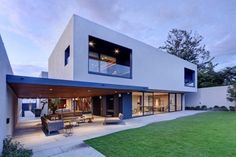 Steel, Concrete, and Stone Home with Central Courtyard
