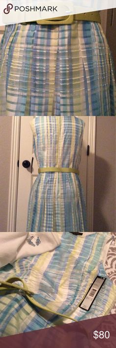 NWT Tahari Dress Lovely Tahari, Arthur S. Levine, NWT sleeveless Spring🌸 and/or Summer☀️dress! Colors are just beautiful, & pleating detail throughout skirt portion is very forgiving😉. Shell is 85% Polyester & 15% Rayon. Size 8 w/zipper back & adjustable pale lime colored belt. Fully lined (97% Polyester & 3% Spandex) in white. Spring IS coming & Summer will follow! Get this dress now so you're ready!! Tahari Dresses