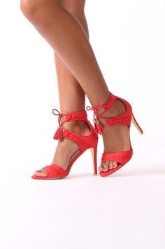 RED SUEDE PLAIT STRAPPY HEEL Plait, Strappy Heels, Night, Model, Red, How To Wear, Shoes, Fashion, Moda