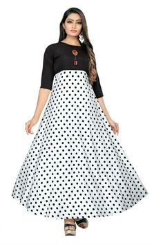 Printed Crepe Floor Length Anarkali Gown from Smile Star Party Wear Long Gowns, Fancy Gowns, Western Dresses For Women, Western Outfits, Western Gown, Western Wear, Ethnic Gown, Anarkali Gown, Indian Party Wear