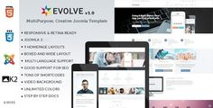 Evolve - Responsive Multi-Purpose Joomla Template . Evolve has features such as High Resolution: Yes, Compatible Browsers: IE9, IE10, IE11, Firefox, Safari, Opera, Chrome, Edge, Software Version: Joomla 3.5.x, Joomla 3.4.x, Columns: 4+