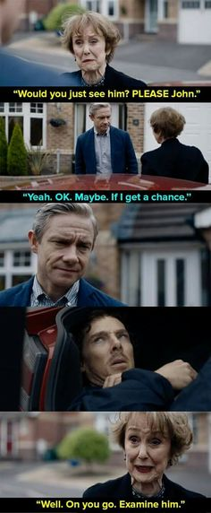 """And finally, when Watson and Sherlock weren't speaking so Mrs Hudson launched a cunning plan. Here Is Undeniable Proof That Mrs Hudson Is The Best Thing About """"Sherlock"""" Drôle Sherlock Holmes, Sherlock Meme, Sherlock Quotes, Sherlock John, Jim Moriarty, Watson Sherlock, Sherlock Mrs Hudson, Sherlock Bored, Sherlock Season 4"""