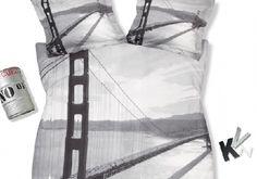 vandyck Golden Gate brug zwart wit zwart wit multi dekbed overtrek theo bot zwaag matras bed.