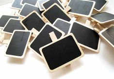 Mini Wooden Blackboard Clip, Wooden Price Display Clips - Pack of 20 Chalkboard Clips (CHM-W-BBC5070)