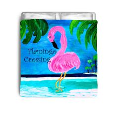 Flamingo crossing coastal bedding from my original art.
