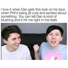 He's too easily amused by Phil's antics, just like we are. Proof that he finds Phil just as adorable (maybe even more) than we do. Phan Is Real, Dan And Phill, Phil 3, Danisnotonfire And Amazingphil, Tyler Oakley, British Men, Phil Lester, Dan Howell, Dodie Clark