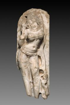 Female Figure, Surasundari as Apsaras or Yakshi, 11th - 12th century  India, Chalnkya, Western Rajputana or Gujrat, 11th-12th century  marble, Overall - h:71.12 w:20.32 cm (h:28 w:8 inches). Charles W. Harkness Endowment Fund 1930.523