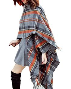 Women's Large Tartan Scarf Shawl Stole Plaid Checked Wool Cotton with Fringe